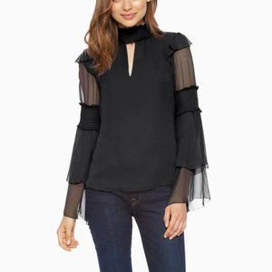 New Parker Black Silk Nan Blouse - Medium